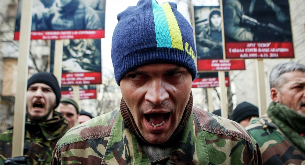 Activists of the Right Sector political party attend an anti-government march in Kiev February 25, 2015