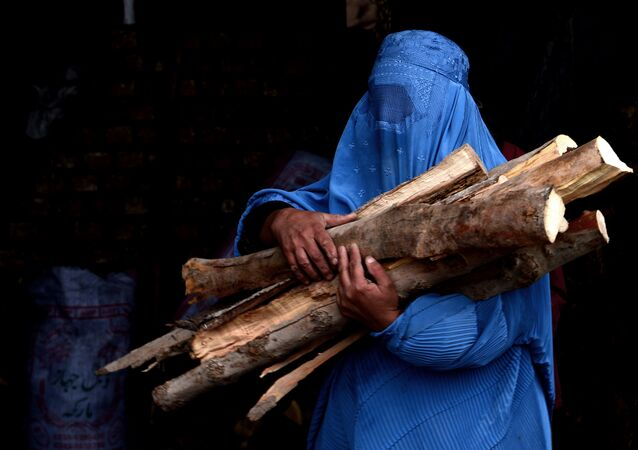 In this photograph taken on February 23, 2015, a burqa-clad Afghan woman carries chopped logs after buying them at a firewood yard in Herat