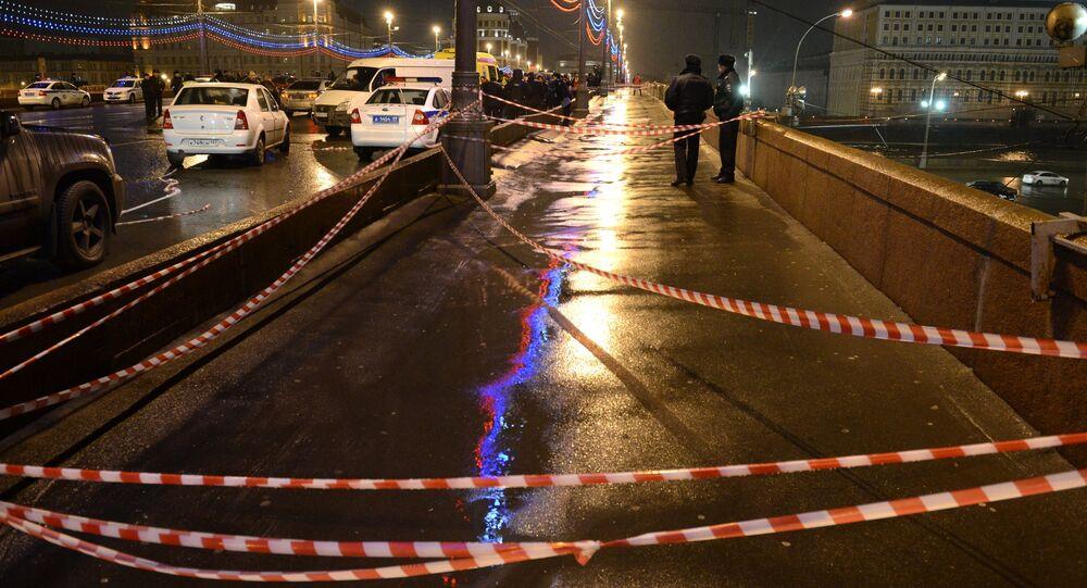 On the site of the killing of leading opposition figure and former deputy prime minister Boris Nemtsov