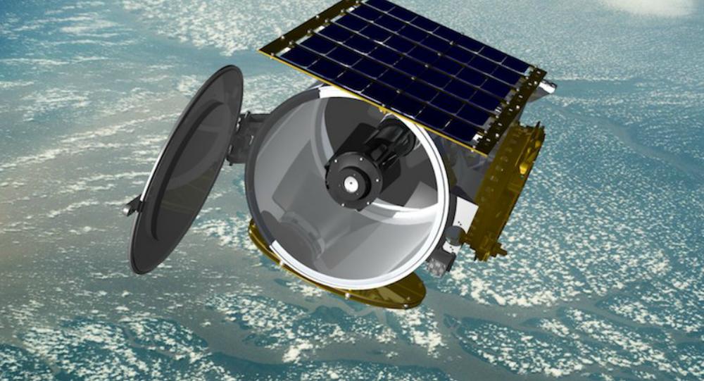 Concept art of a Raytheon small satellite in orbit, file.