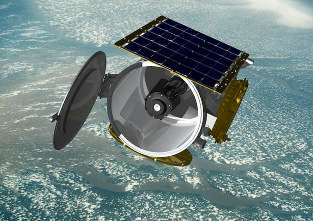 Concept art of a Raytheon small satellite in orbit, file.