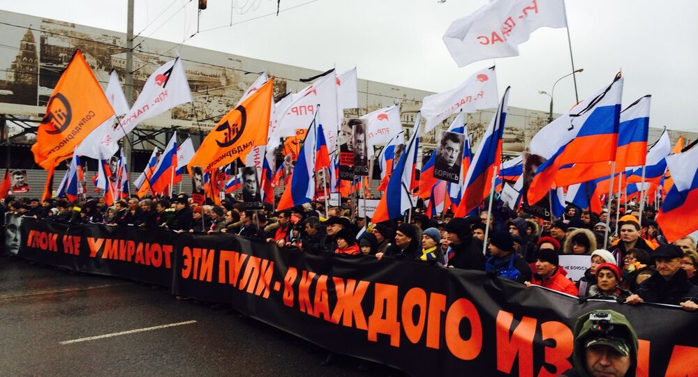 Funeral march in Moscow in memory of Boris Nemtsov