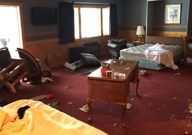 A photos showing some of the damage done by a University of Michigan frat at the Treetops Resort