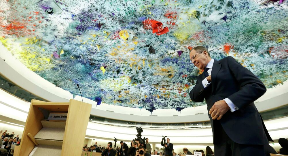 Russian Foreign Minister Sergei Lavrov prepares to addresses the 28th Session of the Human Rights Council at the United Nations in Geneva March 2, 2015.