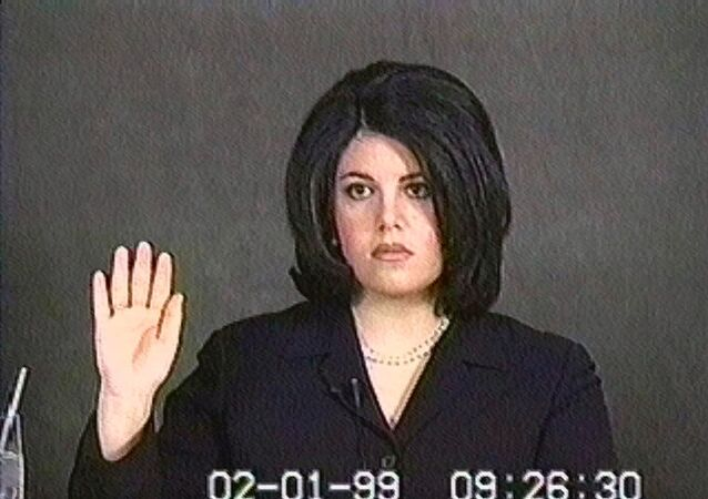 Monica Lewinsky, shown in this video image, is sworn in for her deposition on Feb. 1, 1999.
