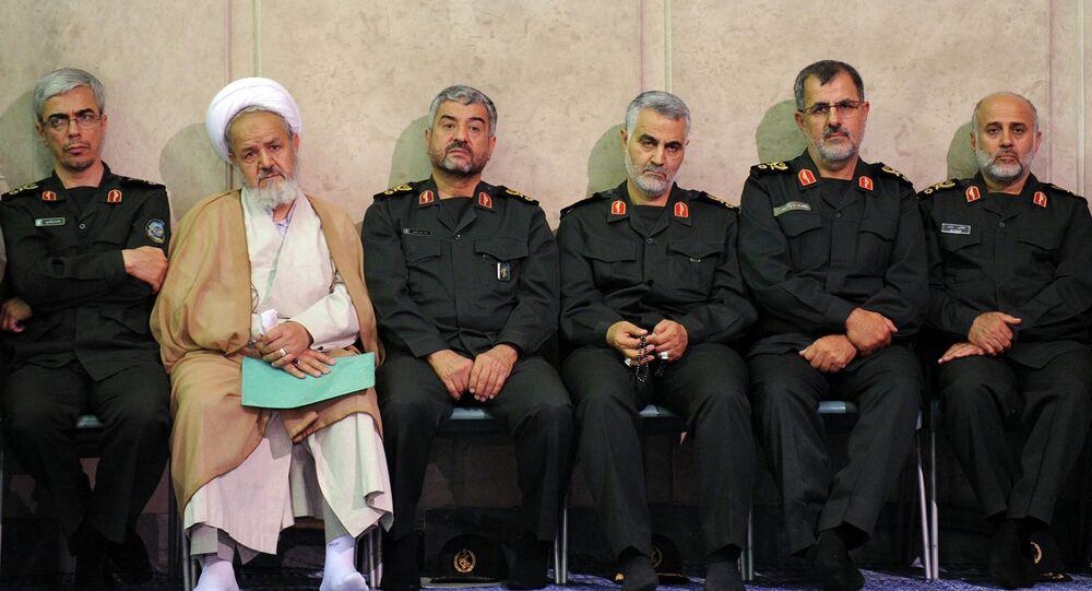 Gen. Qasem Soleimani, third right, sits next to the commander of the Revolutionary Guard, Mohammad Ali Jafari, third left, in a meeting of the commanders of the Revolutionary Guard with Supreme Leader Ayatollah Ali Khamenei in Tehran, Iran.