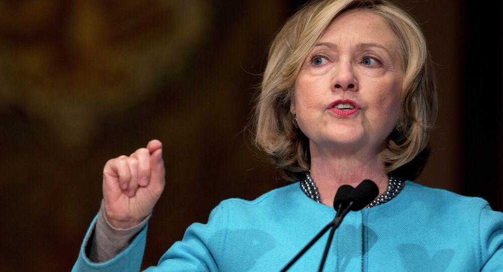 Former Secretary of State Hillary Rodham Clinton speaks in Gaston Hall at Georgetown University in Washington