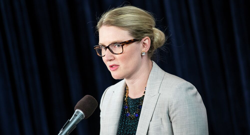 State Department Deputy Spokeswoman Marie Harf speaks during a briefing at the Washington Foreign Press Center