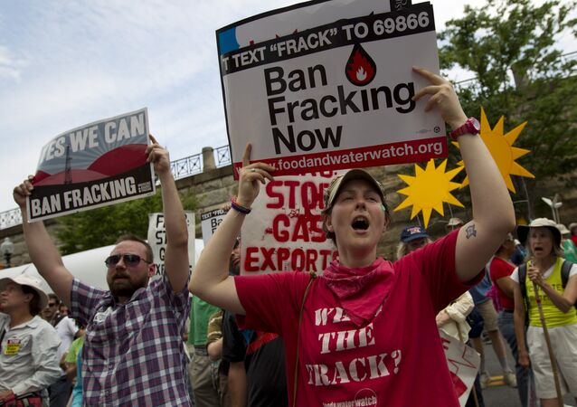 Demonstrators protest during a rally against fracking in Washington in July 2014.