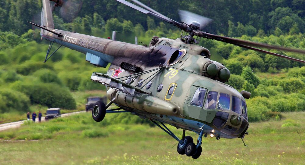 Russia's new Richag-AV radar and sonar jamming system can be mounted on helicopters, ships and other military equipment to jam potential adversaries' weapons systems from distances of several hundred kilometers; it has been hailed by developers as having no analogue anywhere in the world. Photo: The system is mounted to a modified Mi-8MTB-5-1 helicopter.