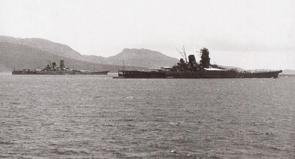 Musashi and Yamato in Truk Lagoon in early 1943