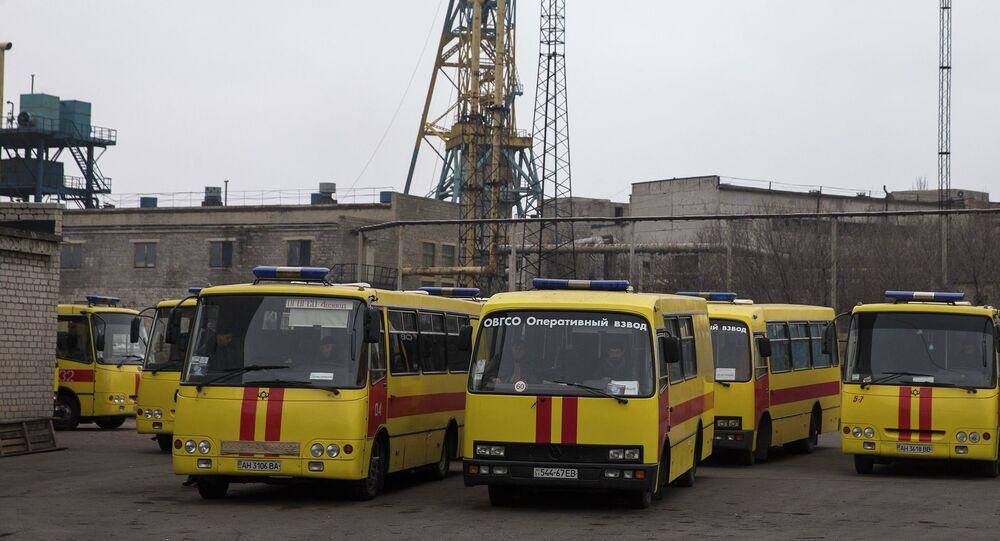 Emergency vehicles parked outside Zasyadko coal mine in Donetsk, March 4, 2015