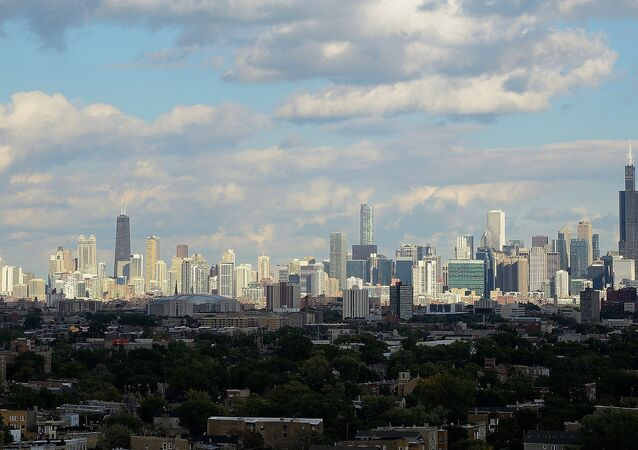 Chicago skyline as seen from the top of the original Sears Tower. Homan Square. Chicago, IL