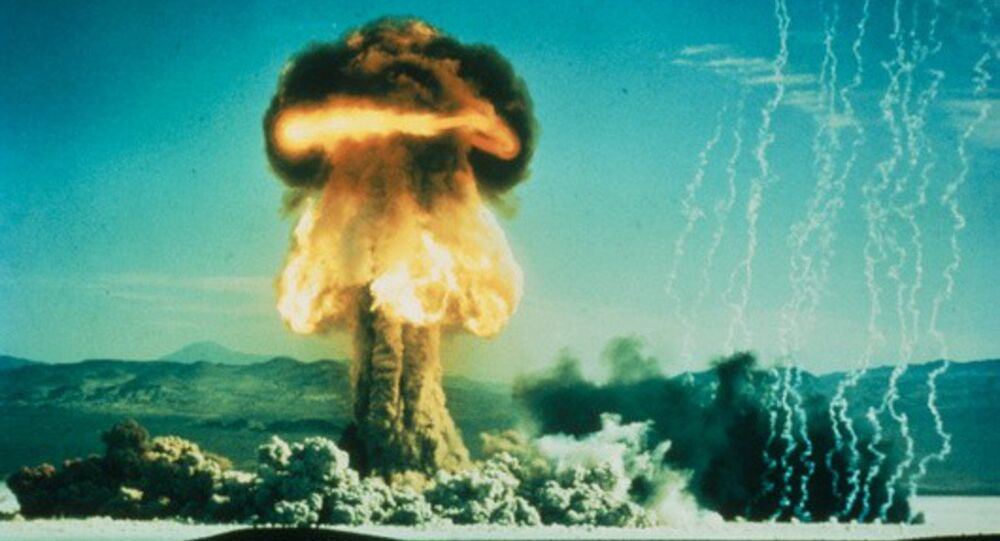 Mushroom cloud from an American atomic bomb test on January 17, 1962. The test was designated Upshot Knothold Grable shot No. 10.