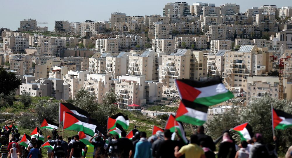 Palestinian protestors walk with their national flag during a demonstration on a hill in the West Bank village of Bilin in front of the Israeli settlement of Modiin Illit (background) on February 27, 2015
