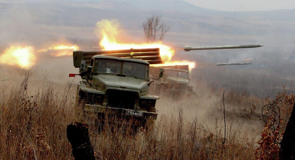 Firing artillery batteries at Sergeyevsky test site