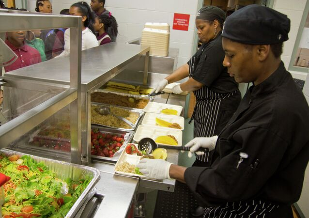 School Cafeteria Line in Washington, D.C.