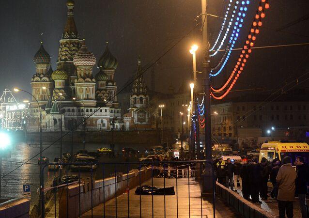 A murder scene of politician Boris Nemtsov, who was shot dead on Moskvoretsky bridge
