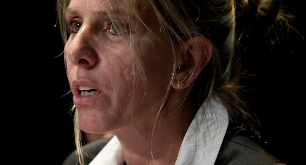 Sandra Arroyo Salgado, ex-wife of the late Argentina prosecutor Alberto Nisman, talks during a press conference in Buenos Aires, Argentina, Thursday, March 5, 2015. Salgado said that experts hired by the family of Argentine prosecutor concluded that he was killed and ruled out the hypothesis of suicide.