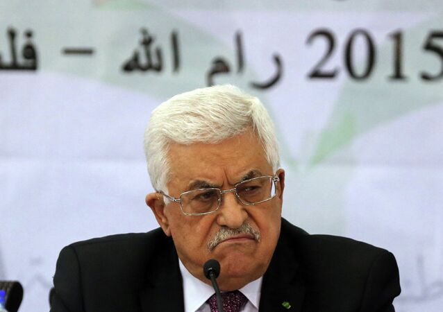 Palestinian leader Mahmud Abbas addresses the Palestinian leadership at the opening of a two-day conference in the West Bank city of Ramallah to discuss the future of the Palestinian Authority