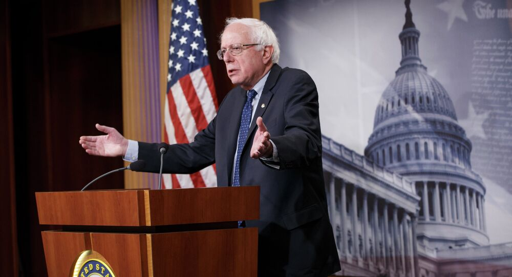 Sen. Bernie Sanders, I-Vt. gestures during a news conference on Capitol Hill in Washington, Friday, Jan. 16, 2015