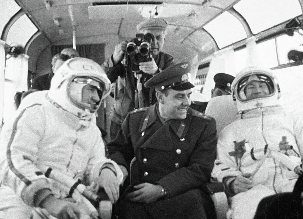 Pavel Belyayev, Vladimir Komarov and Alexei Leonov