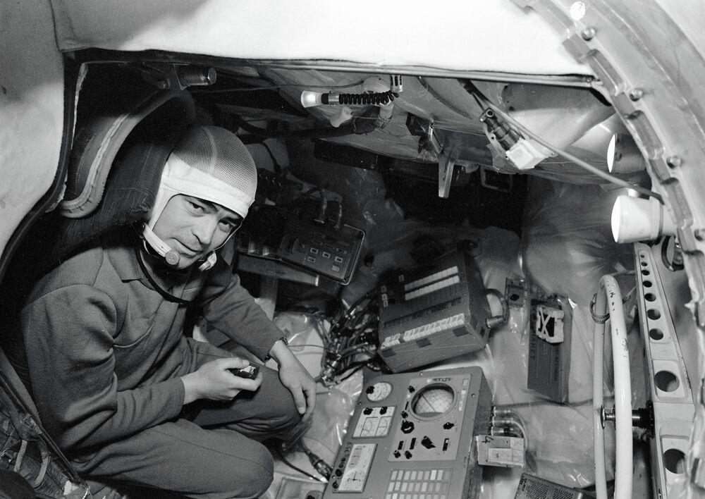 Pilot-Cosmonaut Andriyan Nikolayev inside Vostok spacecraft simulator