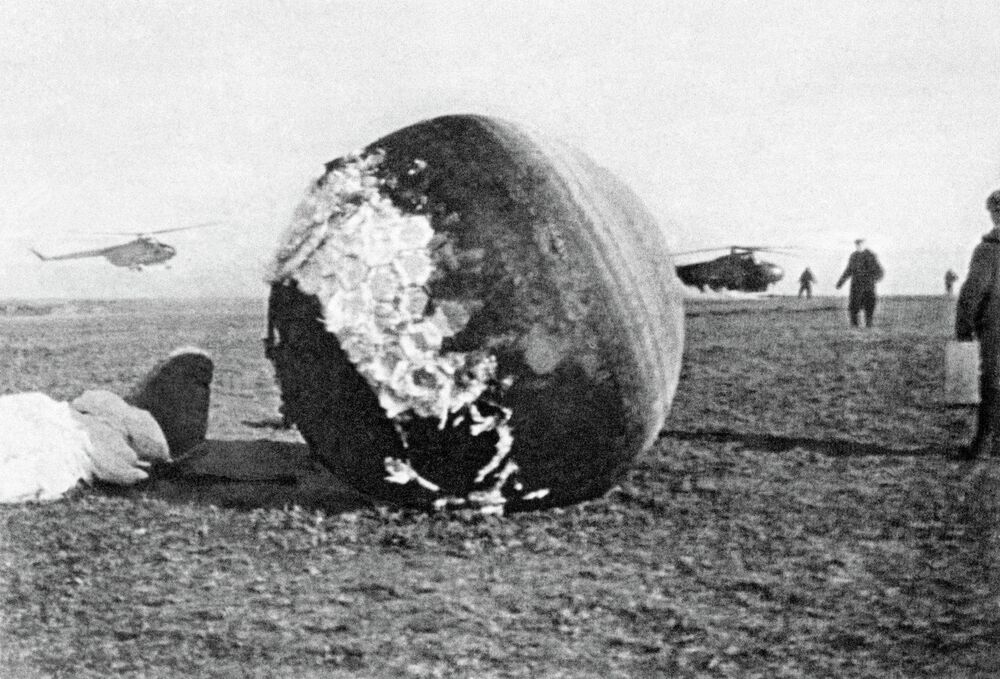 Landing of 'Vostok-1 spacecraft in which Yuri Gagarin orbited the Earth on April 12, 1961.