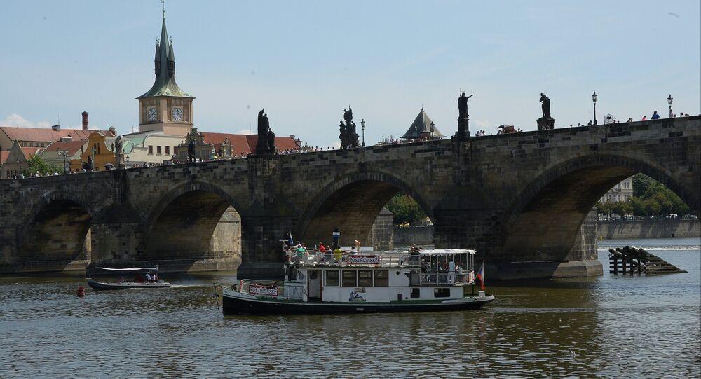 Charles Bridge over the Vltava River in Prague.