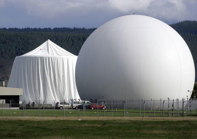 Satellite communications dome at Waihopai satellite communications interception station near Blenheim, New Zealand