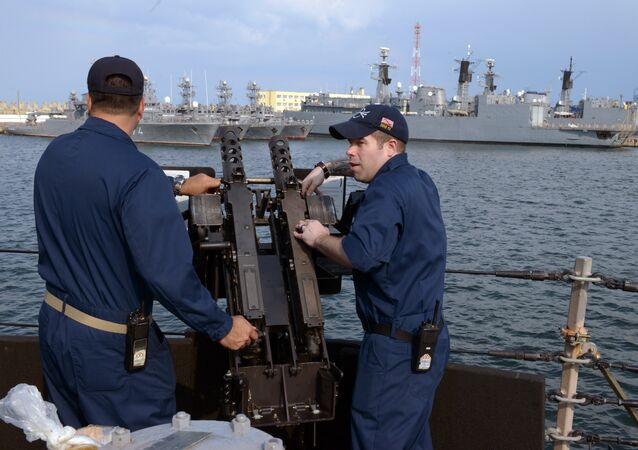 US Navy personnel are pictured aboard the USS Destroyer Donald Cook at the Constanta shipyard in the Romanian Black Sea port of Constanta