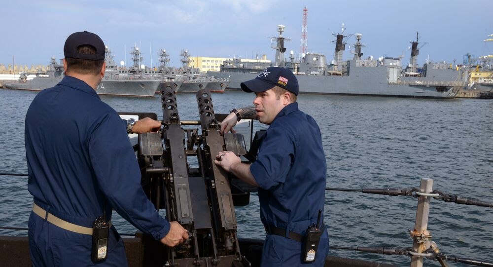 US Navy personnel are pictured aboard the USS Destroyer Donald Cook at the Constanta shipyard in the Romanian Black Sea port of Constanta. File photo