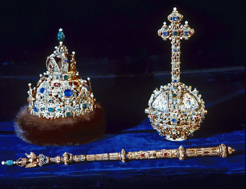 The Hat of Vladimir Monomakh, scepter and orb on display at the Moscow Kremlin's Armory