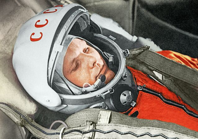 Yuri Gagarin before a space flight aboard the Vostok spacecraft. April 12, 1961