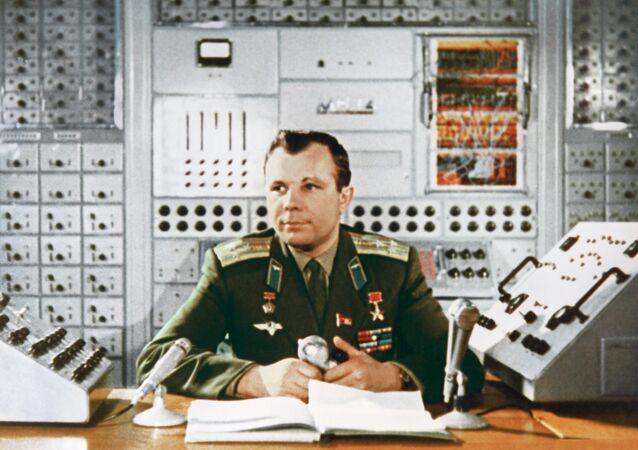 Hero of the Soviet Union, the USSR pilot-cosmonaut Yuri Gagarin in engineering laboratory of Cosmonaut training centre, Star City. 1964