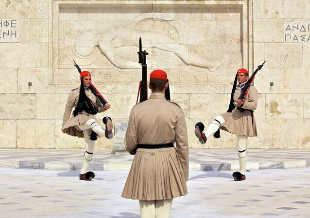 Soldiers outside parliament  in Athens, Greece