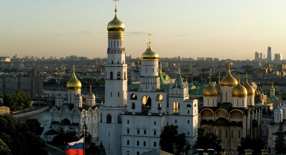 The Annunciation Cathedral and the Ivan the Great Bell-Tower at the Moscow Kremlin.