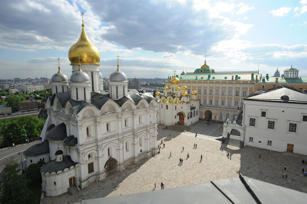 The Archangel Cathedral of the Moscow Kremlin, as viewed from the Ivan the Great Bell Tower, which has opened to the public after restoration.