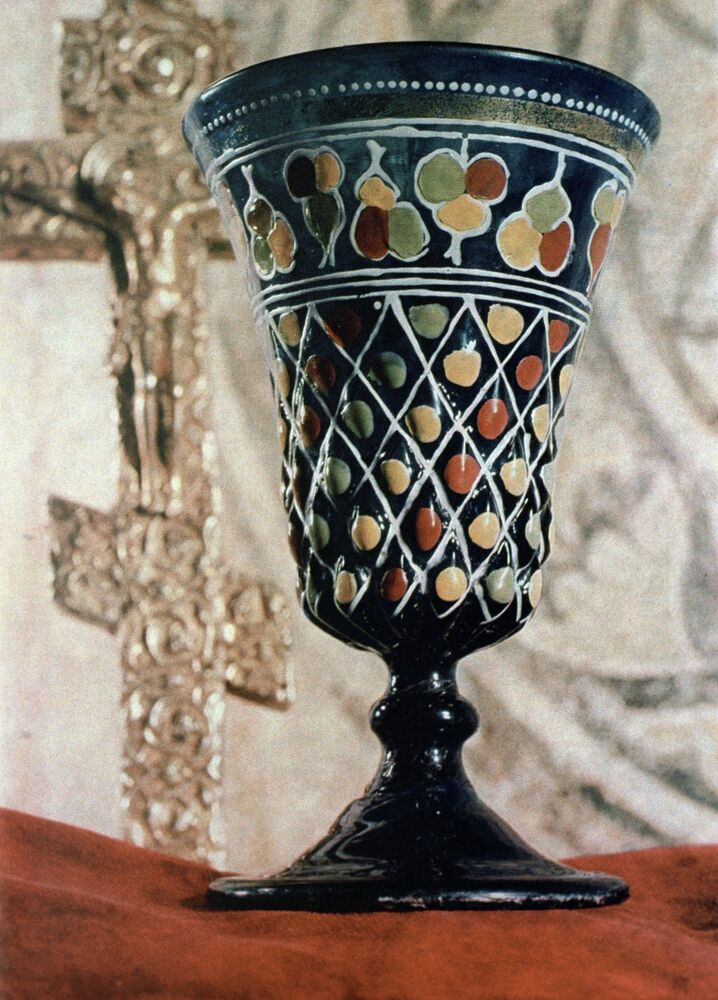 Glass cup of Tsar Ivan the Terrible. the 16th century. The Archangel Cathedral of the Moscow Kremlin.