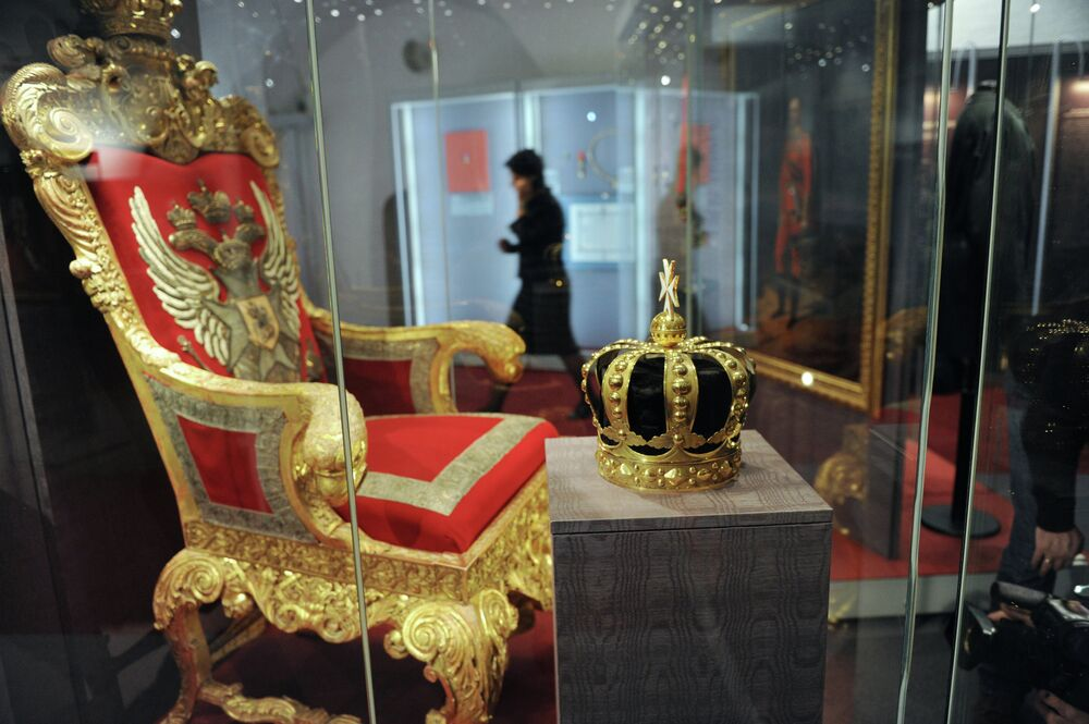 Exhibition Sovereign cavaliers. Foreign orders held by Russian emperors being underway at the One-Pillar Chamber of the Moscow Kremlin's Patriarch Palace.