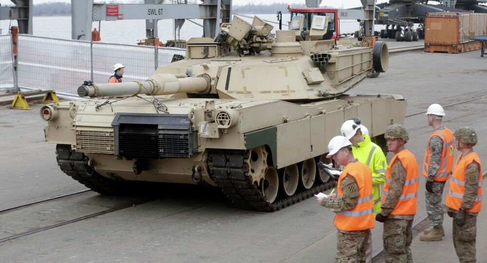 An Abrams main battle tank, for U.S. troops deployed in the Baltics as part of NATO's Operation Atlantic Resolve, leaves Riga port March 9, 2015.
