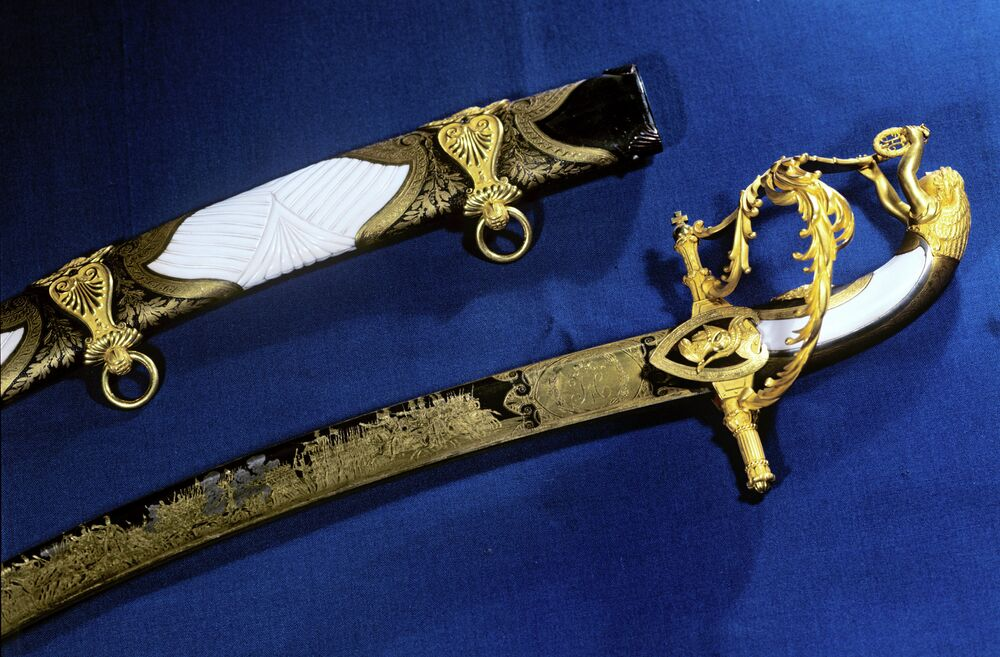 Saber and sheath by master armorer Ivan Bushuyev of Zlatoust in the Urals, 1st third of the 19th century, at the Kremlin Armory
