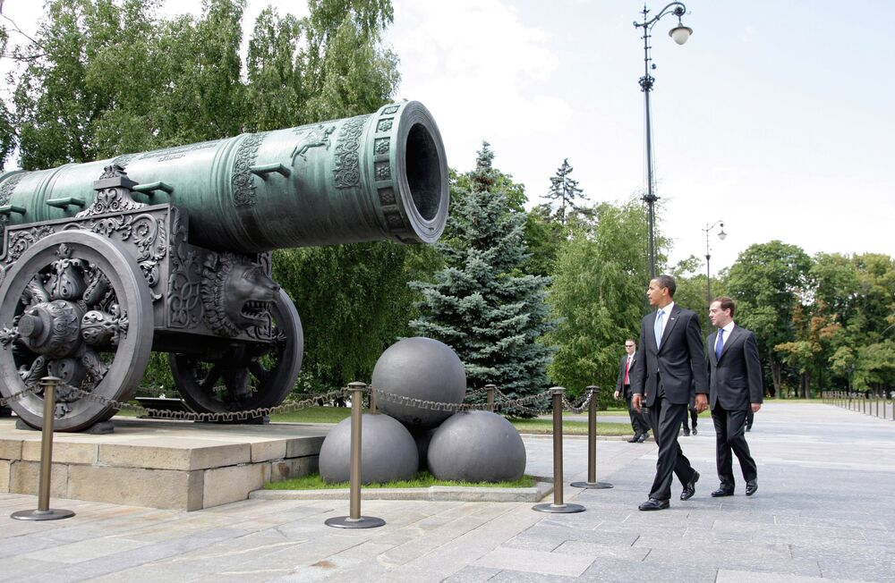 July 7, 2009. President Dmitry Medvedev, right, and U.S. President Barack Obama on a walk in the Kremlin. The 40-tonne Tsar Cannon.