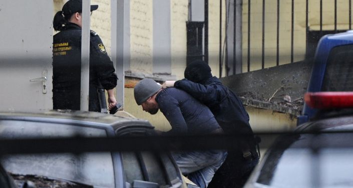 Suspects in the murder of politician Boris Nemtsov at Moscow's Basmanny Court.
