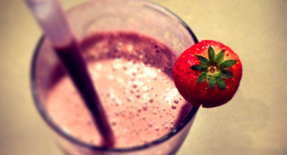 Milkshake with a straw