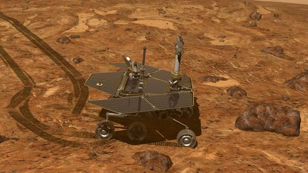 This artist's rendering provided by NASA shows of the Mars Rover, Opportunity, on the surface of Mars. Opportunity reached the rim of the Endeavour crater in August, 2011. - Sputnik International