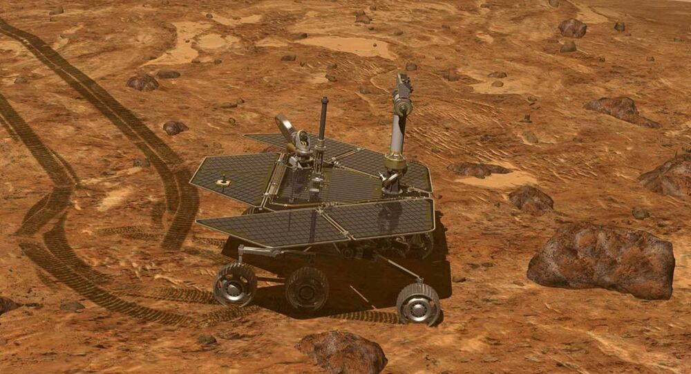 This artist's rendering provided by NASA shows of the Mars Rover, Opportunity, on the surface of Mars. Opportunity reached the rim of the Endeavour crater in August, 2011.