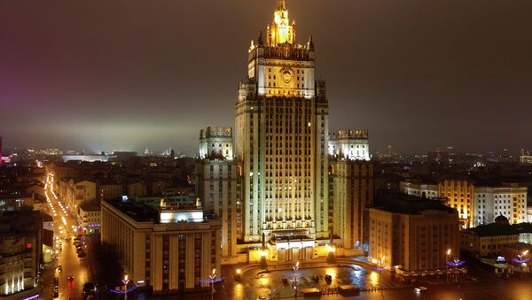 A night view of the Russian Foreign Ministry building in Moscow, Russia, Sunday, March 1, 2015 - Sputnik International