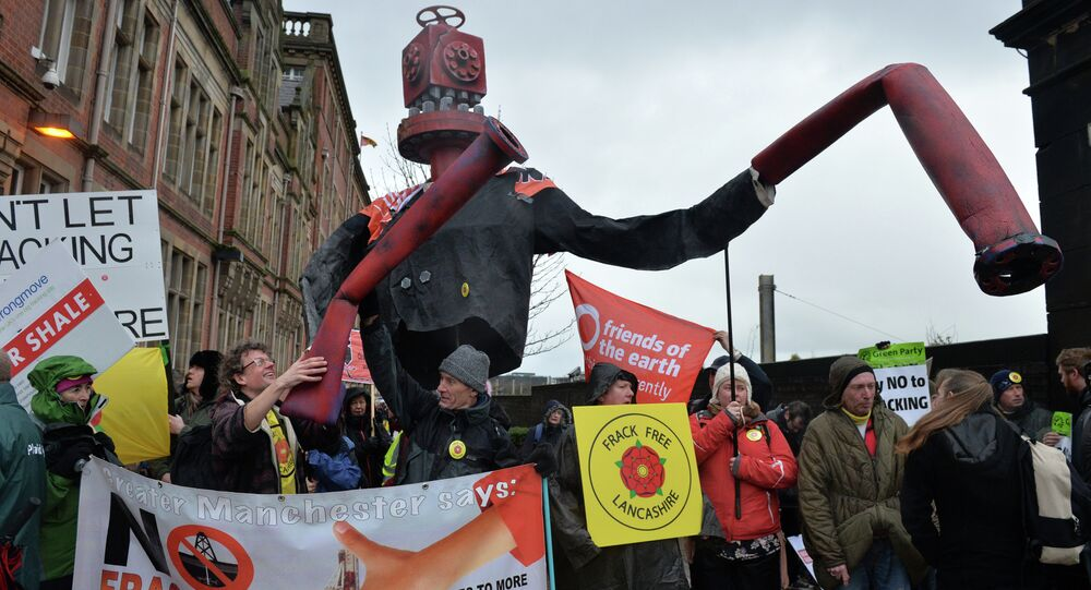 'Mr Frackhead' a giant puppet representing the global fracking industry, is seen at an anti-fracking protest in Preston, north west England, on January 28, 2015