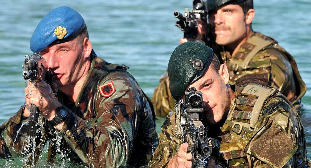 Royal Marine Commandos from the Response Force Task Group (RFTG) conducting amphibious training alongside their Albanian NATO counterparts (left)